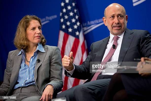 Lloyd Blankfein chief executive officer of Goldman Sachs Group Inc right and Sylvia Burwell director of the Office of Management and Budget...