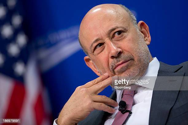 Lloyd Blankfein chief executive officer of Goldman Sachs Group Inc listens during a panel discussion at the Center for American Progress in...