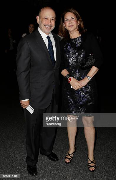 Lloyd Blankfein chief executive officer of Goldman Sachs Group Inc and his wife Laura Jacobs Blankfein arrive at the Robin Hood Foundations annual...