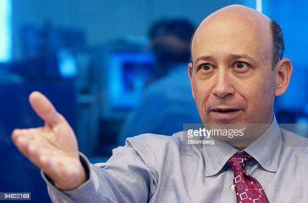 Lloyd Blankfein president and COO of Goldman Sachs Group Inc speaks to reporters in New York on May 27 2004