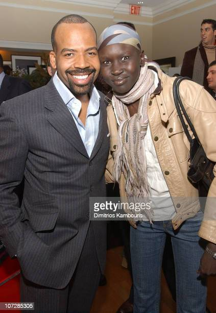 """Lloyd Boston and Alek Wek during Lloyd Boston's Book Launch Party for """"Make Over Your Man: A Woman's Guide to Dressing Any Man in Her Life"""" at Tommy..."""