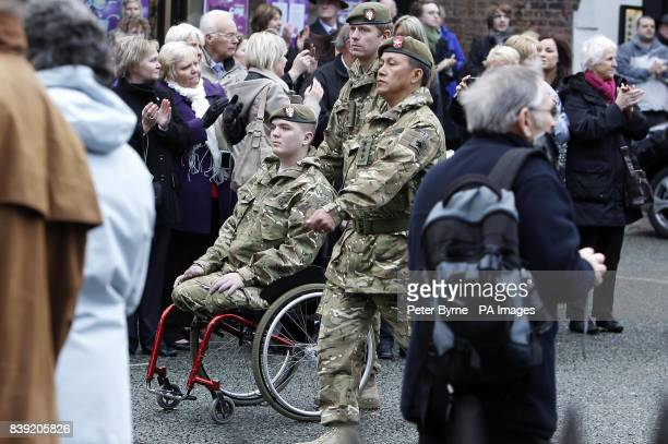 Lloyd Bull joins members of the 1st Battalion the Mercians as they attend a Armistice Day service at Chester Cathedral