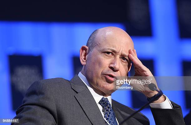 Lloyd C Blankfein chairman and chief executive officer of Goldman Sachs Group Inc speaks during a session on day two of the World Economic Forum in...