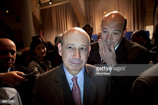 Lloyd C Blankfein chairman and chief executive officer of Goldman Sachs Group Inc center walks with Gary D Cohn Goldman's president and chief...