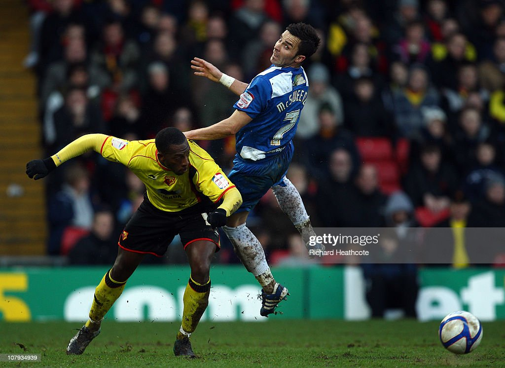 Lloyd Doyley of Watford battles with Leon McSweeney of Hartlepool during the 3rd round FA Cup Sponsored by E.ON match between Watford and Hartlepool United at Vicarage Road on January 8, 2011 in Watford, England.