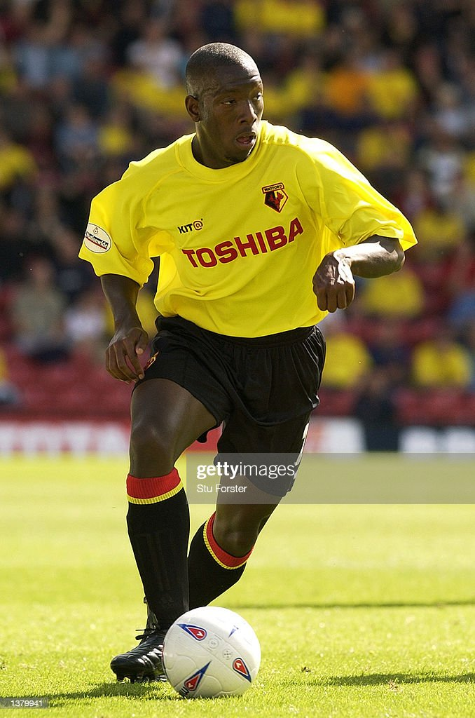 Lloyd Doyley of Watford on the ball during the Nationwide League Division One match between Watford and Walsall at Vicarage Road in Watford, England on September 7, 2002.