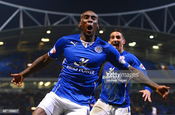 Lloyd Dyer of Leicester City celebrates scoring the opening goal with Anthony Knockaert during the Sky Bet Championship match between Bolton...