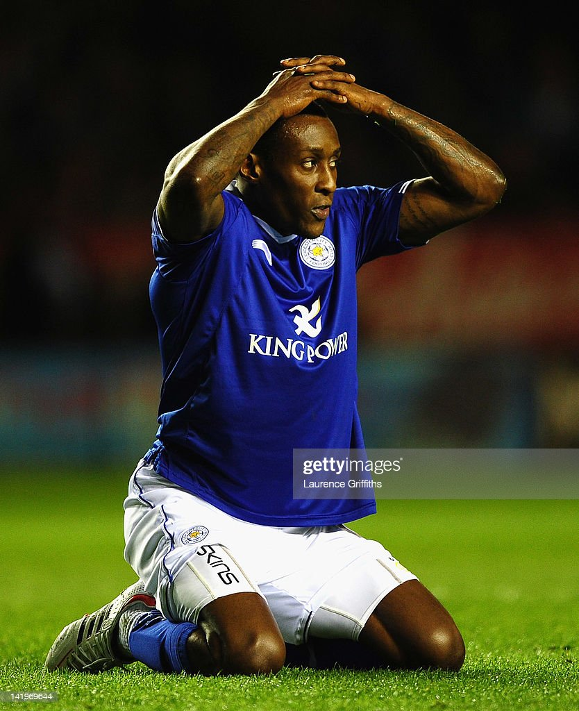 Lloyd Dyer of Leicester City reflects on a missed chance during the npower championship match between Leicester City and Nottingham Forest at The King Power Stadium on March 27, 2012 in Leicester, England.
