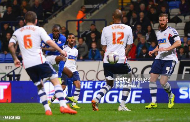 Lloyd Dyer of Leicester City scores the opening goal during the Sky Bet Championship match between Bolton Wanderers and Leicester City at Reebok...