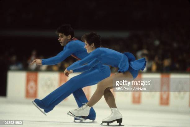 Lloyd Eisler Katherina Matousek competing in the Pairs skating event at the 1984 Winter Olympics / XIV Olympic Winter Games Zetra Ice Hall