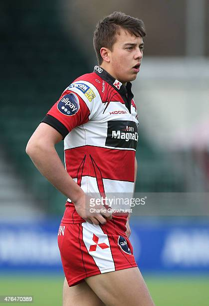 Lloyd Evans of Gloucester during the The U18 Academy Finals Day match between Bath and Gloucester at Allianz Park on February 17 2014 in Barnet...