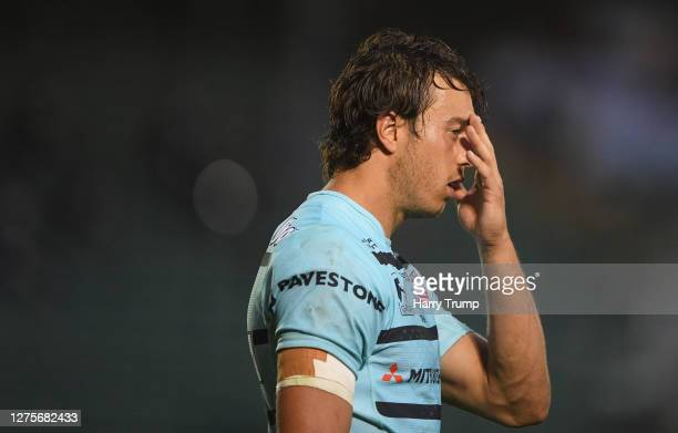 Lloyd Evans of Gloucester Rugby looks on during the Gallagher Premiership Rugby match between Bath Rugby and Gloucester Rugby at The Recreation...