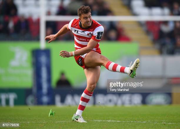 Lloyd Evans of Gloucester Rugby takes a penalty kick during the AngloWelsh Cup match at Welford Road on November 4 2017 in Leicester England