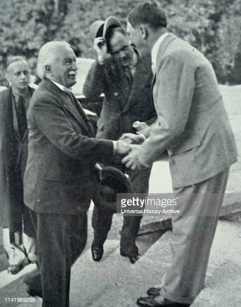 Lloyd George the exPrime Minister of Great Britain meeting Adolf Hitler at Haus Wachenfeld in 1936 near Berchtesgaden in the Bavarian Alps