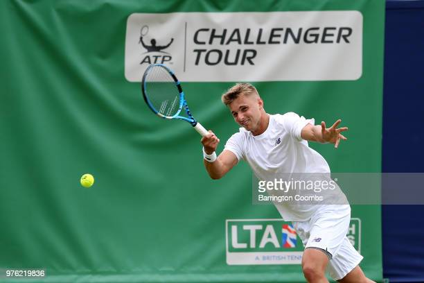 Lloyd Glasspool of Great Britain in action during Day One of the Fuzion 100 Ikley Trophy at Ilkley Lawn Tennis & Squash Club on June 16, 2018 in...