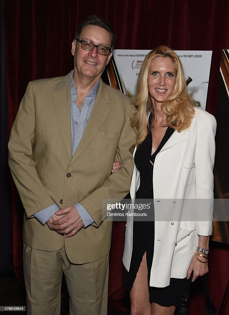 Lloyd Grove and Ann Coulter attend Seth Meyers with the Orchard & the Cinema Society Host a Special Screening of 'Cartel Land' at Tribeca Grand Hotel on June 25, 2015 in New York City.