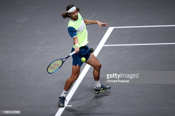 Lloyd Harris of South Africa plays a forehand during the match between Kyle Edmund of Great Britain and Lloyd Harris of South Africa of day two of...