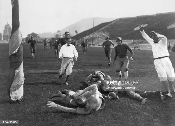 Lloyd Hughes scores a touchdown in the silent movie 'Forever After' Hollywood California 1926