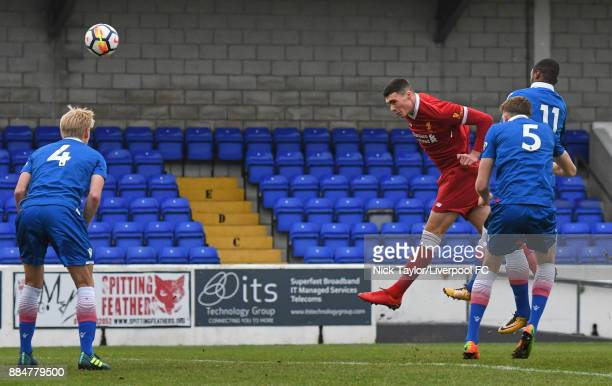 Lloyd Jones of Liverpool scores during the Liverpool v Stoke City Premier League Cup game at The Swansway Chester Stadium on December 3 2017 in...