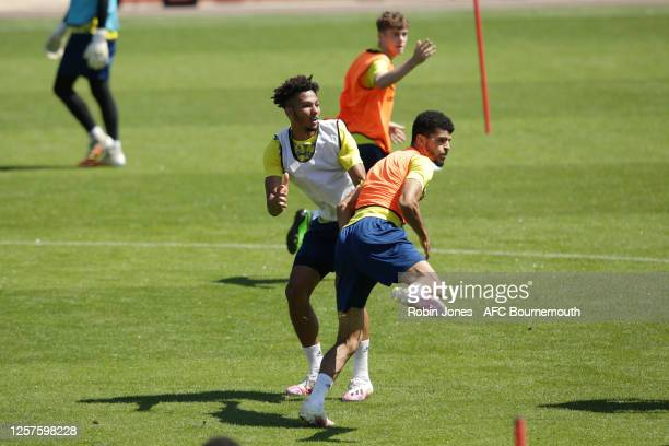 Lloyd Kelly and Dominic Solanke of Bournemouth during a training session at the Vitality Stadium on July 22 2020 in Bournemouth England
