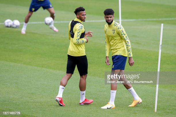 Lloyd Kelly and Philip Billing of Bournemouth during a pre-season training session at Vitality Stadium on July 07, 2021 in Bournemouth, England.