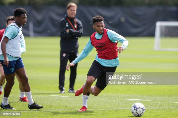 Lloyd Kelly of Bournemouth during a pre-season training session at Vitality stadium on August 03, 2021 in Bournemouth, England.