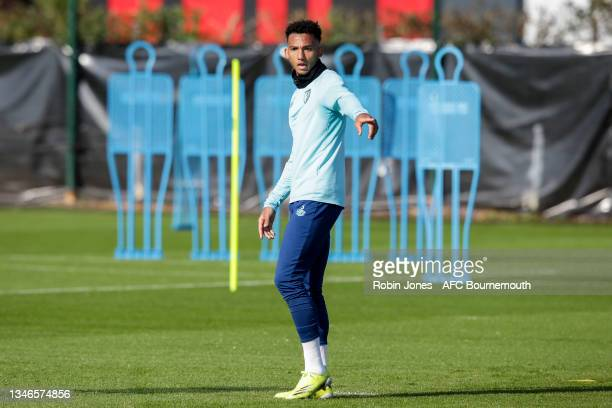 Lloyd Kelly of Bournemouth during a training session at the Vitality Stadium on October 14, 2021 in Bournemouth, England.