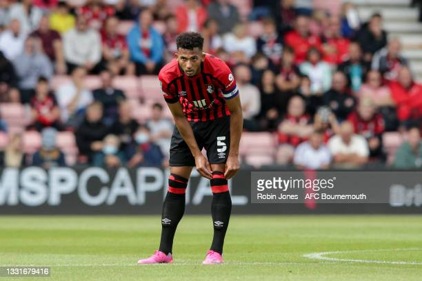 Lloyd Kelly of Bournemouth during the Carabao Cup 1st Round match between AFC Bournemouth and MK Dons at Vitality Stadium on July 31, 2021 in...
