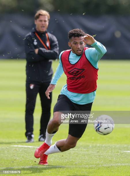 Lloyd Kelly of Bournemouth runs after the ball during a pre-season training session at Vitality stadium on August 03, 2021 in Bournemouth, England.