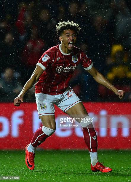 Lloyd Kelly of Bristol City celebrates after scoring his sides second goal during the Sky Bet Championship match between Bristol City and Reading at...