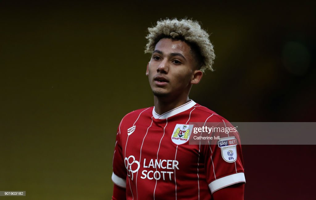Lloyd Kelly of Bristol City during the Emirates FA Cup Third Round match between Watford and Bristol City at Vicarage Road on January 6, 2018 in Watford, England.