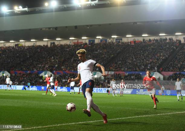 Lloyd Kelly of England controls the ball during the U21 International Friendly match between England and Poland at Ashton Gate on March 21 2019 in...