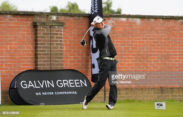 Lloyd Kennedy of Woolston Manor Golf Club plays his first shot on the 1st tee during Day One of the Galvin Green PGA Assistants' Championship at...
