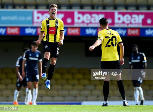 Lloyd Kerry of Harrogate Town celebrates scoring the second goal during the Sky Bet League Two match between Southend United and Harrogate Town at...