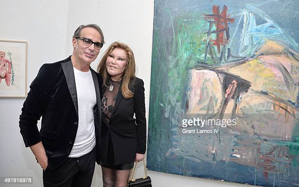 Lloyd Klein and Jocelyn Wildenstein attend the JeanYves Klein Chimeras Exhibition at Gallery Molly Krom on October 8 2015 in New York City
