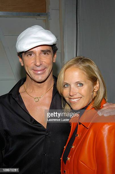 Lloyd Klein and Katie Couric during Olympus Fashion Week Spring 2005 Lloyd Klein Backstage and Front Row at Plaza Tent Bryant Park in New York City...