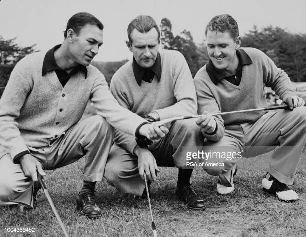 Lloyd Mangrum with Ben Hogan and Lew Worsham in 1948 at the National Capital Open Golf Tournament at Prince Georges Country Club Club 'nPhoto by Acme...