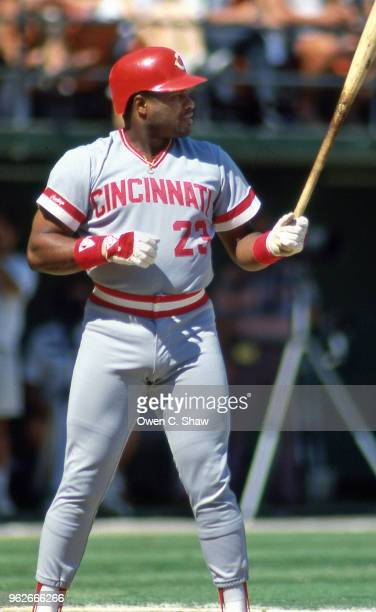 Lloyd McClendon of the Cincinnati Reds batd against the san Diego Padres at Jack Murphy Stadium circa 1987 in San Diego California