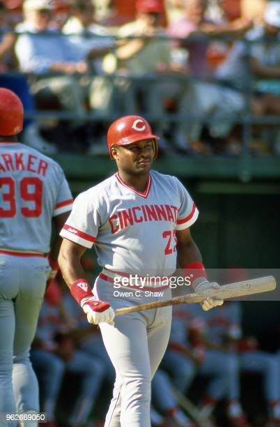 Lloyd McClendon of the Cincinnati Reds prepares to bat against the San Diego Padres at Jack Murphy Stadium circa 1987 in San DiegoCalifirnia