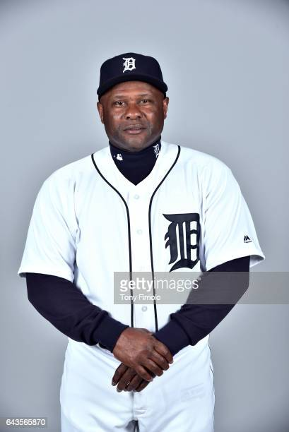 Lloyd McClendon of the Detroit Tigers poses during Photo Day on Sunday February 19 2017 at Publix Field at Joker Marchant Stadium in Lakeland Florida