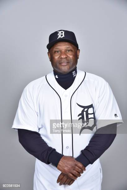 Lloyd McClendon of the Detroit Tigers poses during Photo Day on Tuesday February 20 2018 at Publix Field at Joker Marchant Stadium in Lakeland Florida