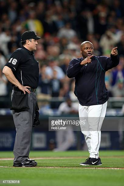 Lloyd McClendon of the Seattle Mariners argues with Mike DiMuro during the game against the New York Yankees at Safeco Field on June 2 2015 in...