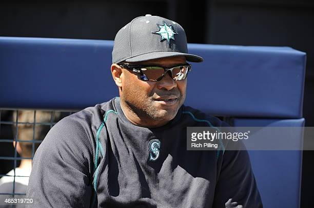 Lloyd McClendon of the Seattle Mariners is seen prior to the game against the San Diego Padres on March 4 2015 at Peoria Stadium in Peoria Arizona...