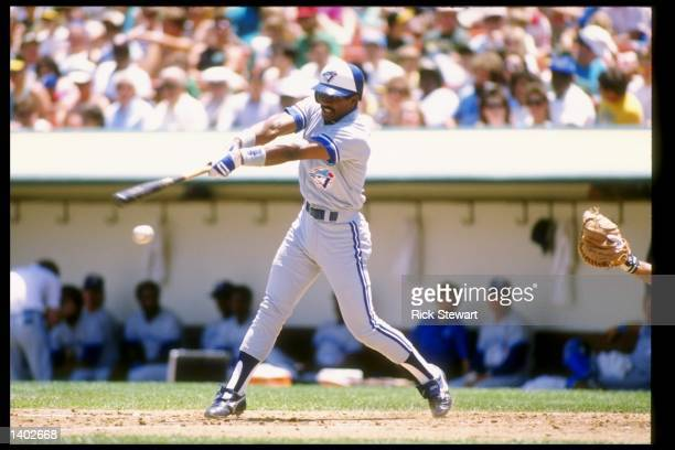 Lloyd Moseby of the Toronto Blue Jays swings at the ball during a game Mandatory Credit Rick Stewart /Allsport