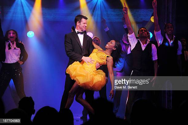 Lloyd Owen and Heather Headley perform at the curtain call during the press night performance of 'The Bodyguard' at the Adelphi Theatre on December 5...