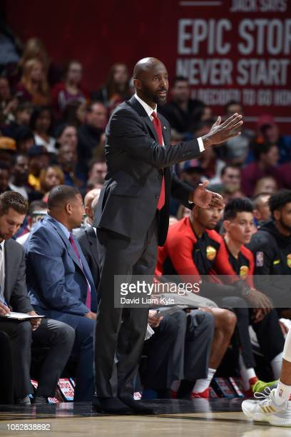 Lloyd Pierce of the Atlanta Hawk coaches against the Cleveland Cavaliers on October 21 2018 at Quicken Loans Arena in Cleveland Ohio NOTE TO USER...