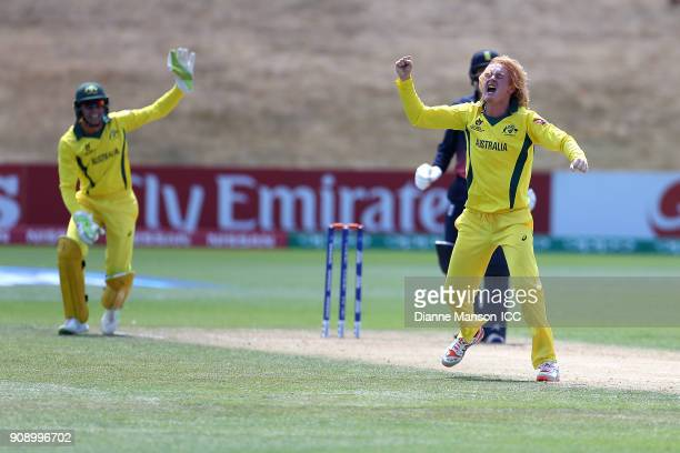Lloyd Pope of Australia successfully appeals for the dismissal of Jack Davies of England during the ICC U19 Cricket World Cup Quarter Final match...