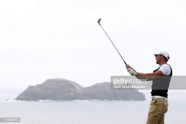 Lloyd Saltman of Scotland hits his tee shot on the 14th hole during the final day of the Madeira Islands Open on May 22 2011 in Porto Santo Island...