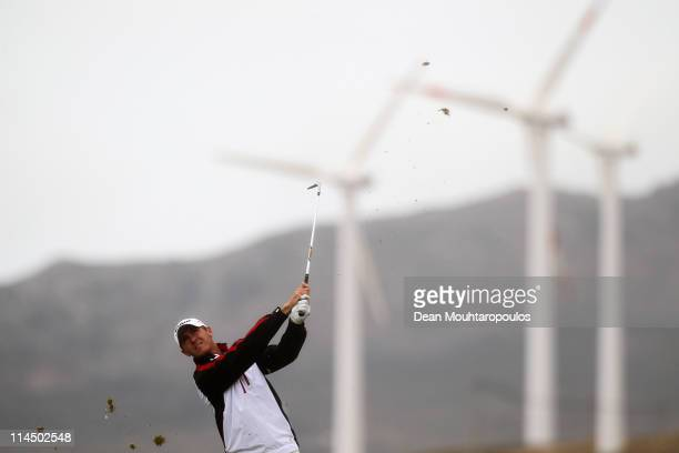 Lloyd Saltman of Scotland hits his tee shot on the 15th hole during the final day of the Madeira Islands Open on May 22 2011 in Porto Santo Island...