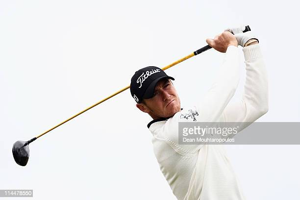 Lloyd Saltman of Scotland hits his tee shot on the 1st hole during day three of the Madeira Islands Open on May 21 2011 in Porto Santo Island Portugal